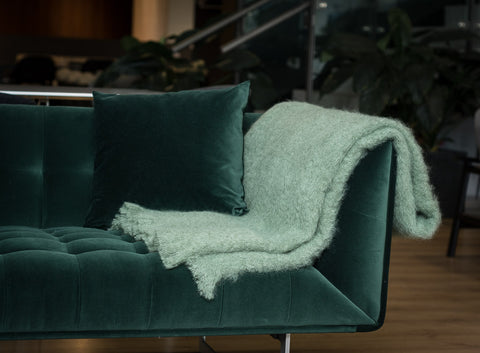 Windermere Olive Green Mohair Throw Blanket