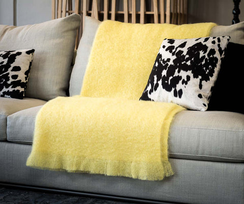 Windermere Lemon Yellow Mohair Throw Blanket