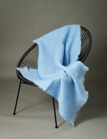 Windermere Sky Blue Mohair Throw Blanket