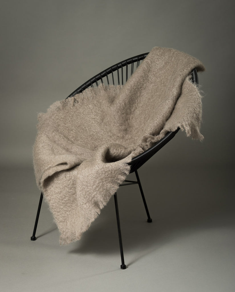 Windermere Manuka Taupe Mohair Throw Blanket