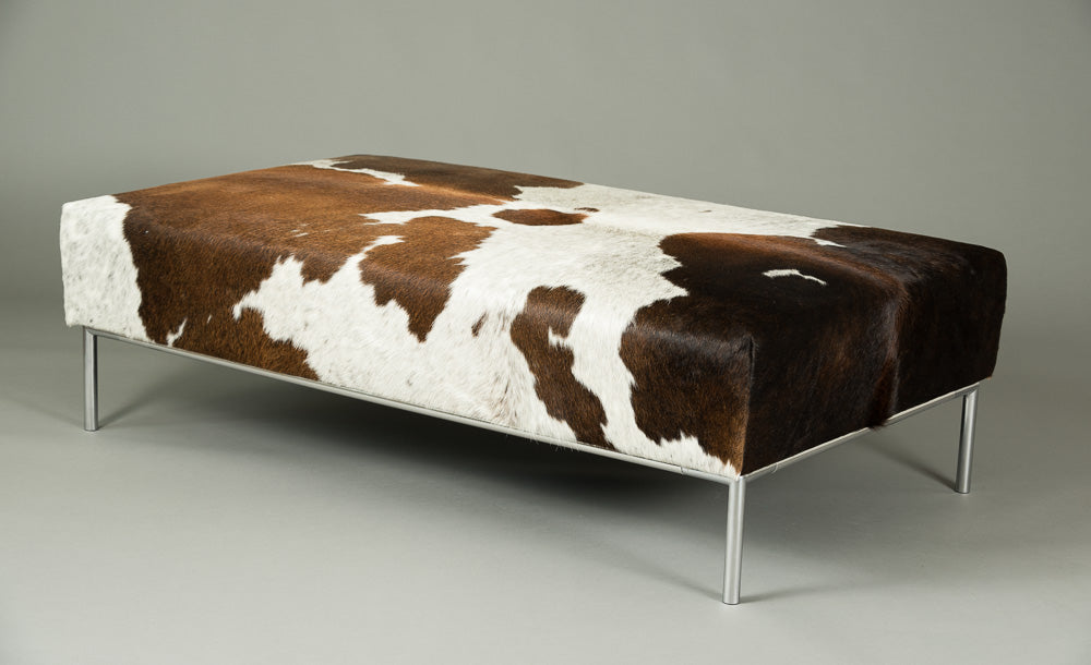 Cowhide Tri-Colour Ottoman with Metal Rail Base 140x80x40cm