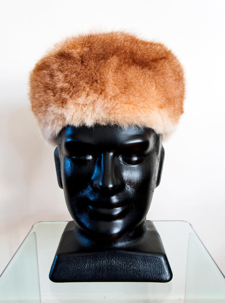 Russian Cossack Shorter Design Possum Fur Hat - Honey