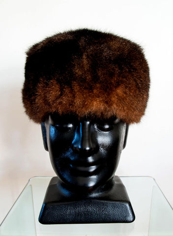 Image of Russian Cossack Shorter Possum Fur Hat - Reddish Brown