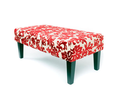 Image of Velvet floral fabric upholstered ottoman