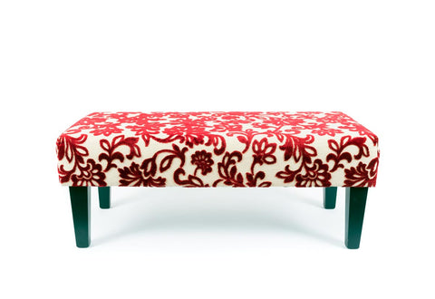 Red Floral Fabric Ottoman with Wood Legs 100x50x38cm