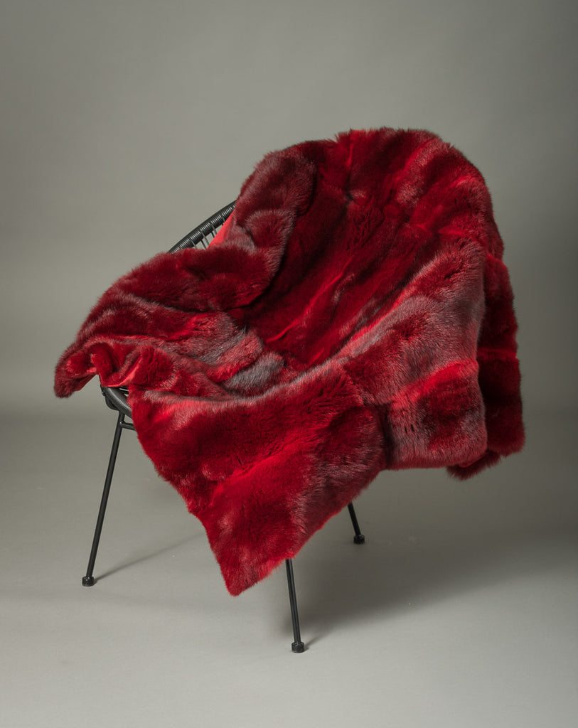 Bright Red Possum Fur Throw