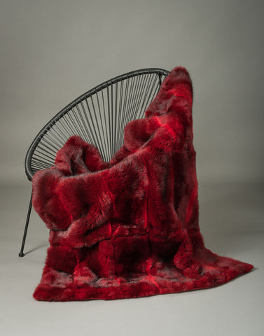Image of Bright Red Possum Fur Throw