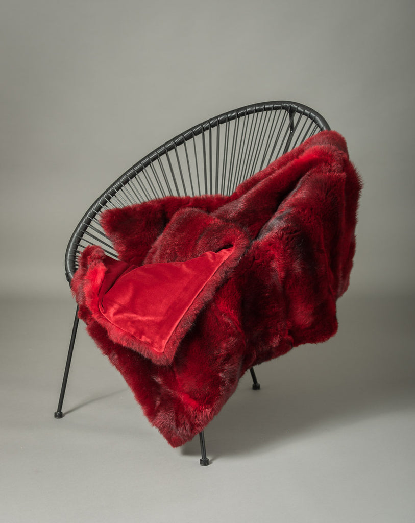 Bright Red Possum Fur Blanket