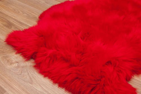 Image of Bright Red Dyed Single Sheepskin Rug