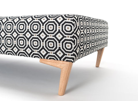 Retro fabric ottoman with wood legs