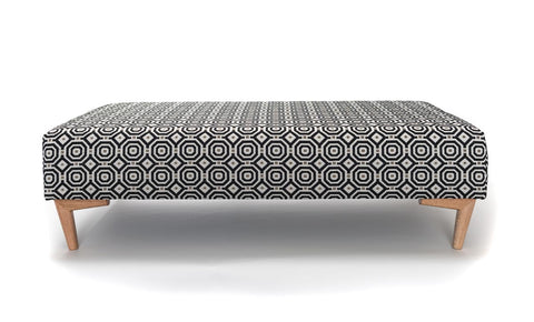 Image of Retro fabric ottoman with wood legs
