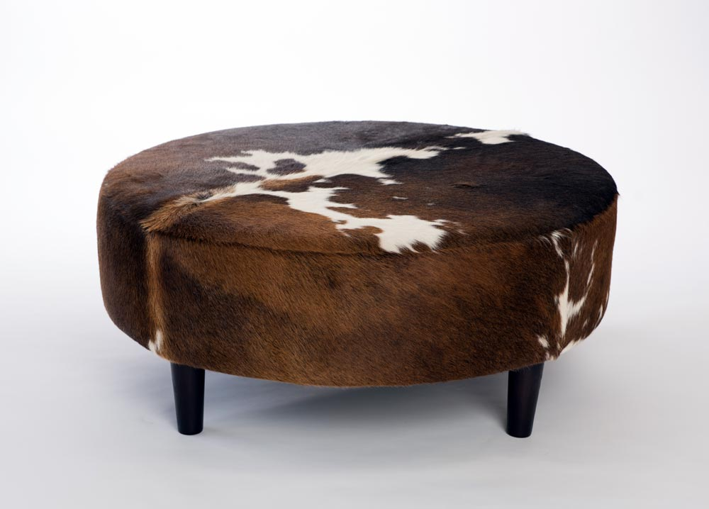 Admirable Cowhide Ottoman Round Wood Legs 95X95X40Cm 2 Gmtry Best Dining Table And Chair Ideas Images Gmtryco
