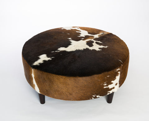 Image of Cowhide Ottoman Round Wood Legs 95x95x40cm