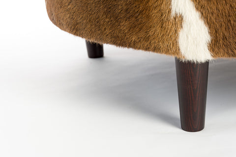Image of Cowhide Ottoman Round Wood Legs 95x95x40cm #2