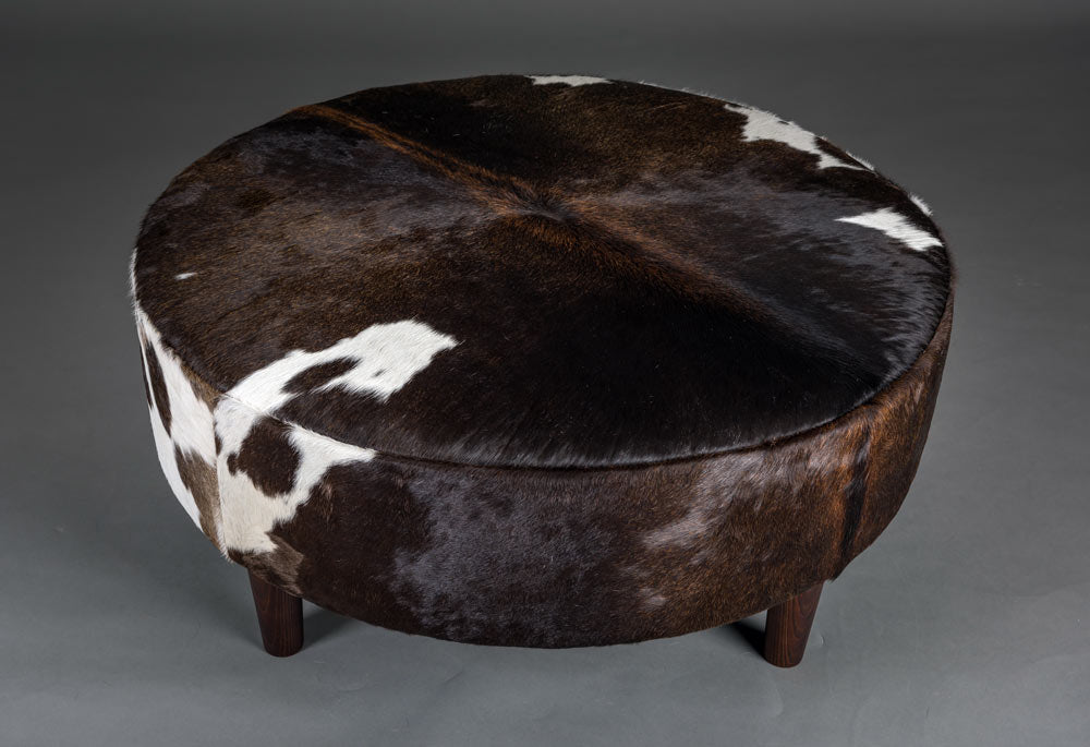 Round Cowhide Ottoman Usa Cow Skin Furniture Usa Footstool
