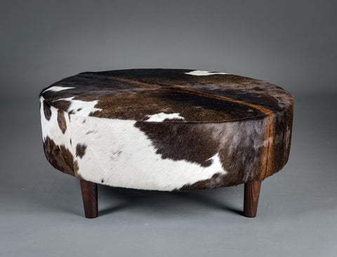 Image of Cowhide Ottoman Round Wood Legs 95x95x40cm #3