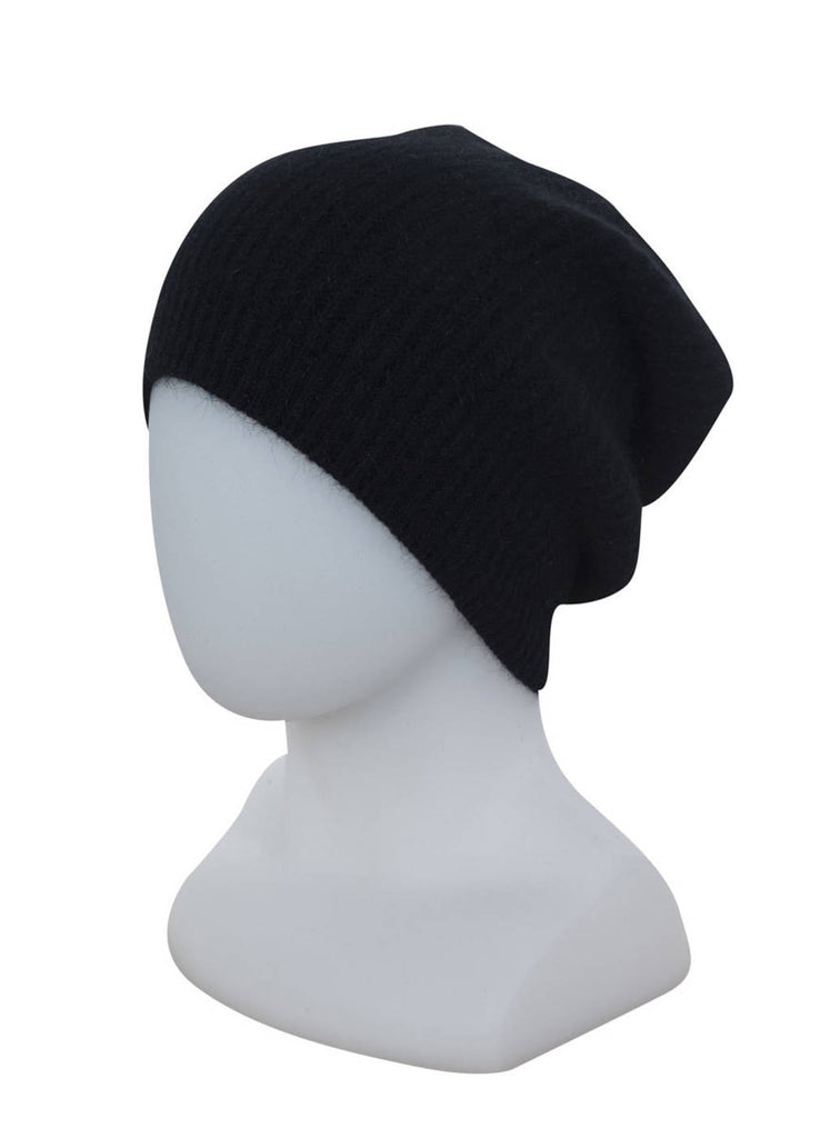 Native World Black Slouch Beanie Hat in Possum Merino Wool Unisex - NX677