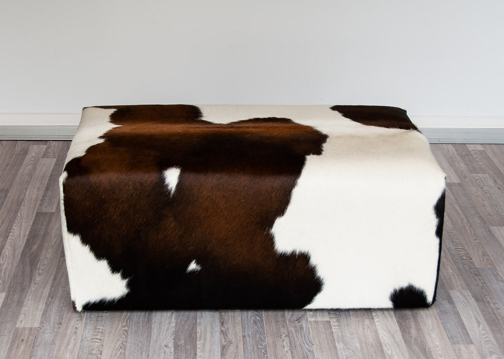 Small Cowhide Ottoman Invisible Glides 90x50x40cm
