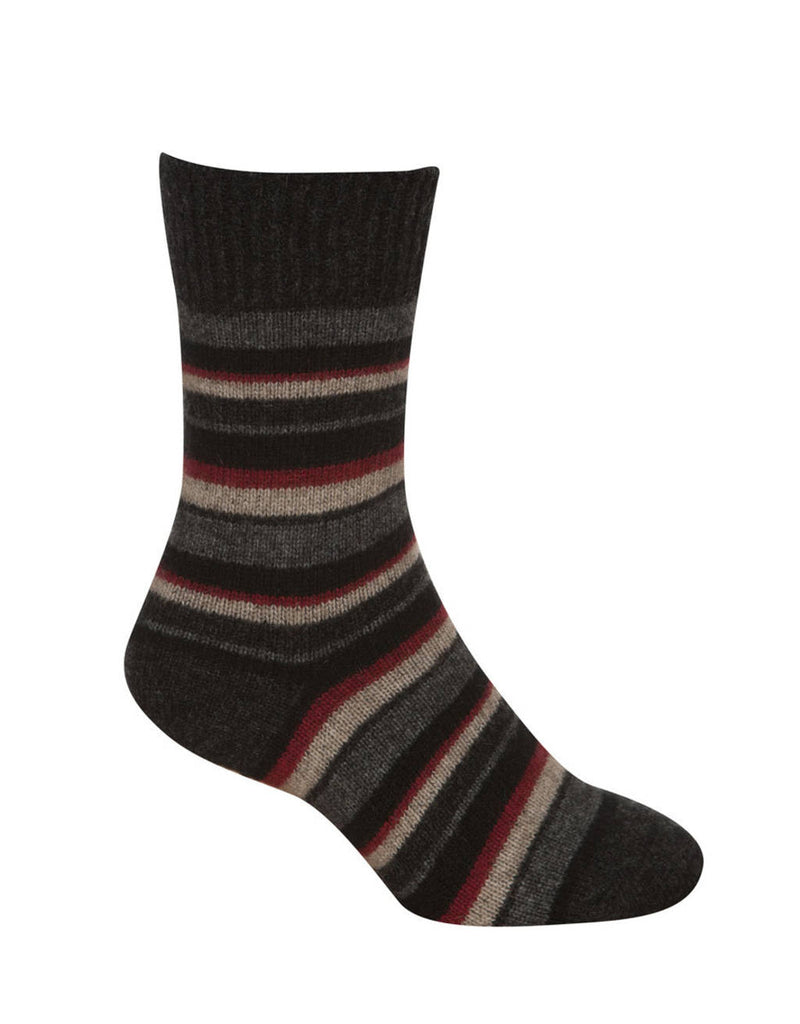 Possum Merino Native World Charcoal Red Beige Striped Socks NX206
