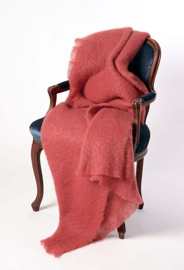 Windermere Tea Rose Pink Mohair Throw Blanket