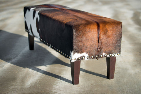 Image of Cowhide Bench Ottoman with Wood Legs 120x40x45cm