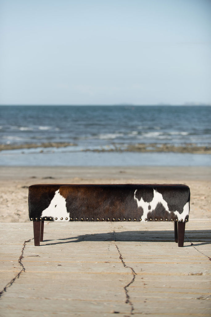 Cowhide Bench Ottoman with Wood Legs 120x40x45cm