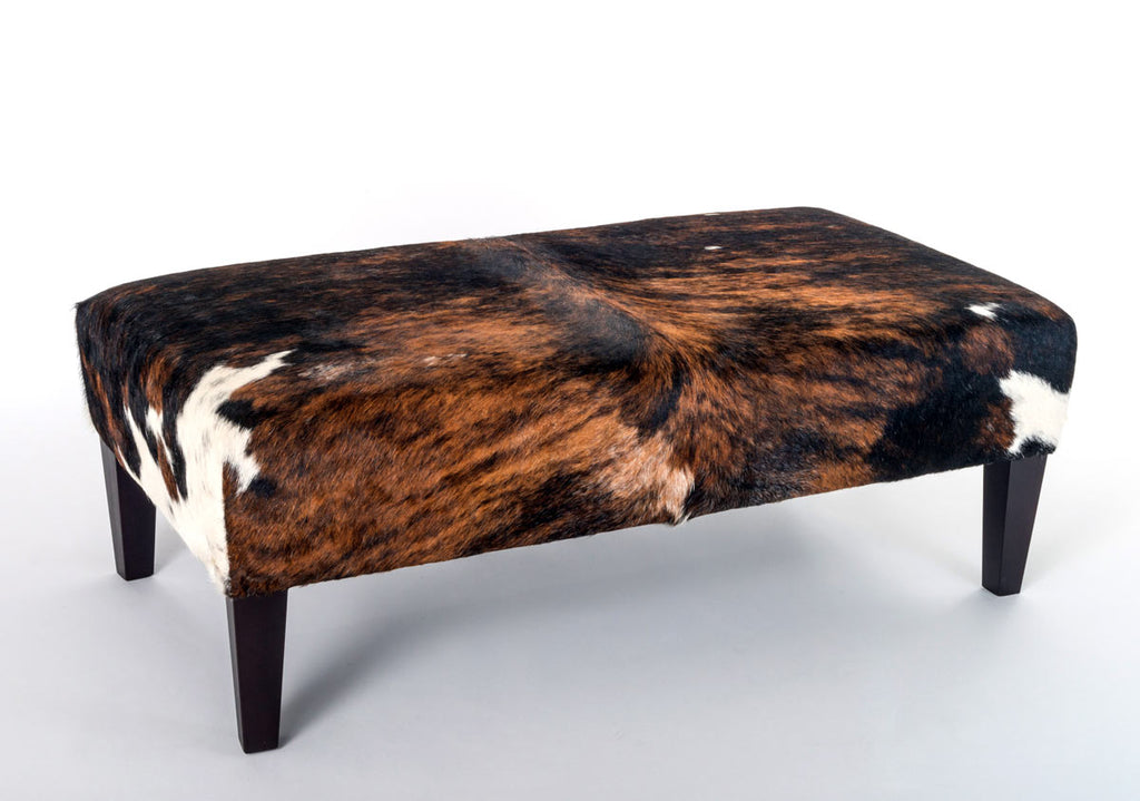 Cowhide Ottoman with Wood Legs 110x60x40cm