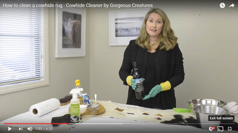 Image of Gorgeous Creatures cowhide cleaner demonstration video