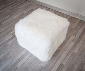 White Woolly Stool Sheepskin Footstool 50x50x40cm