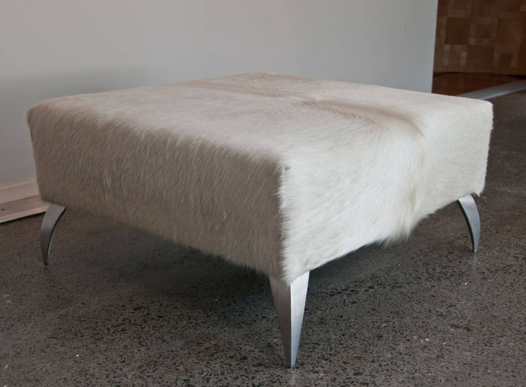 Cowhide Ottoman with Curved Aluminium Legs 80x80x40cm