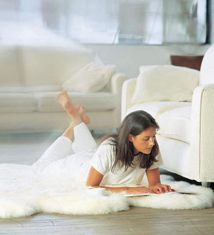 Image of Ivory wool sheepskin rug - Quarto (4-skin) 110cm x 180cm