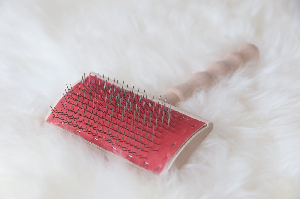 Sheepskin Carding Brush - Wire Brush