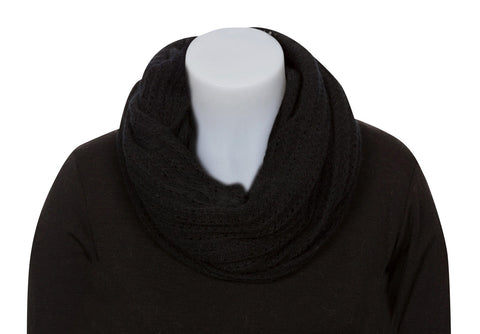 Black Endless Lace Loop Scarf - NX479