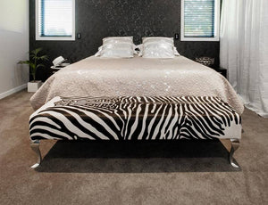 End of bed zebra print cowhide ottoman NZ