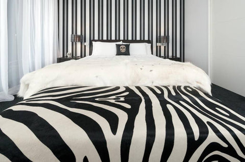 Image of Zebra ottoman furniture from zebra printed cowhide
