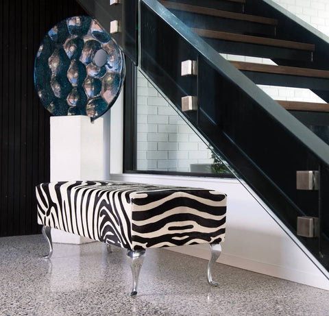 Image of Zebra cowhide ottoman furniture from zebra printed cowhide