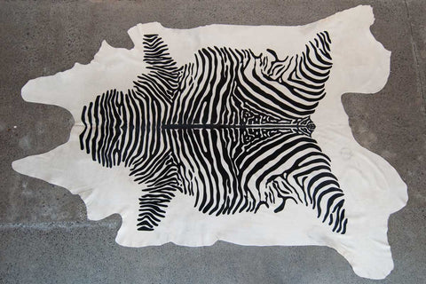 Realistic Upholstery Zebra Off-White Cowhide for Ottomans
