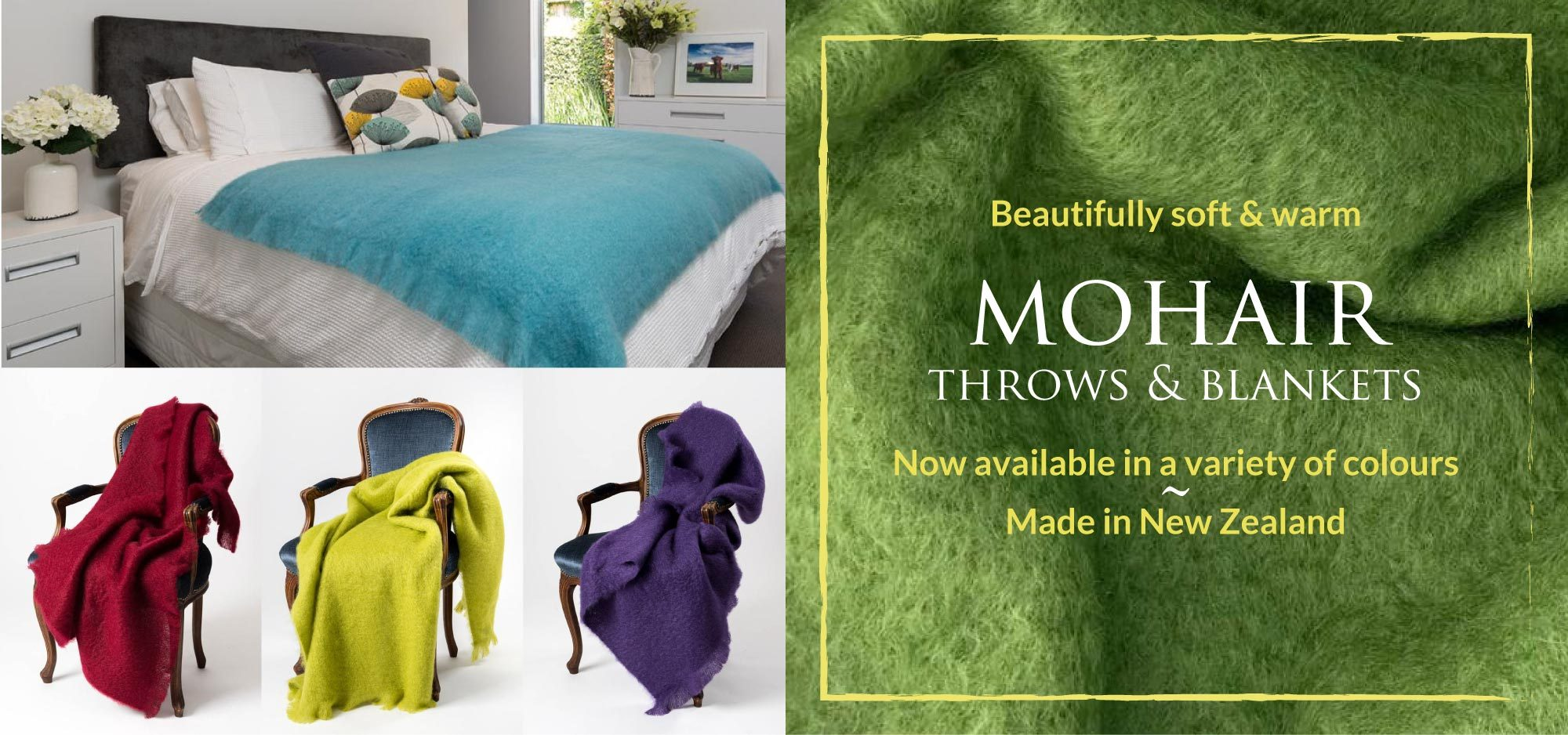Mohair Throw Blankets in Bright Colours
