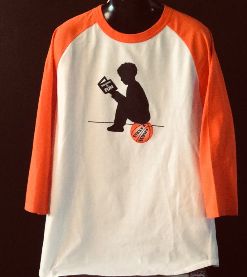 Reading is Fun Adult Basketball 3/4 Sport Tee