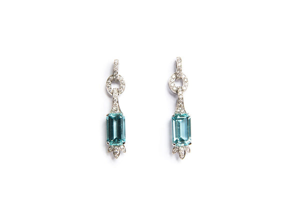Aquamarine und Brillant Ohrringe in Weissgold
