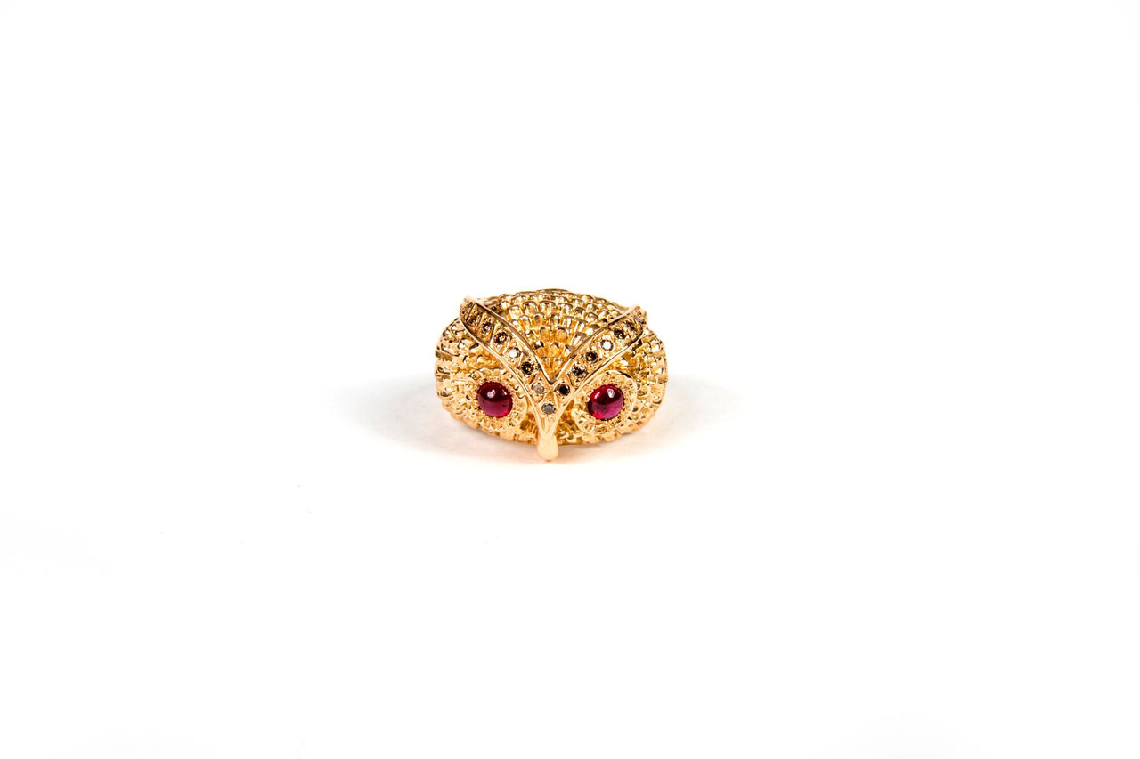 Eulen Ring Rubin Cabochon mit Brillanten in Rotgold