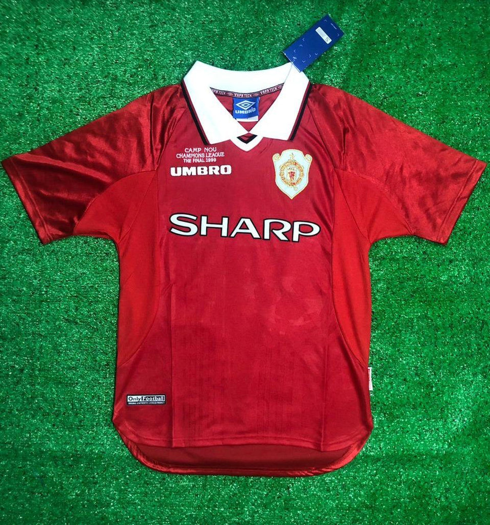 save off f7fd6 26d0d Manchester United 1999 Champions League Final Retro Jersey ...