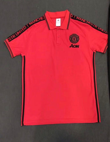 Manchester United Red Hand Printed Polo T-Shirt