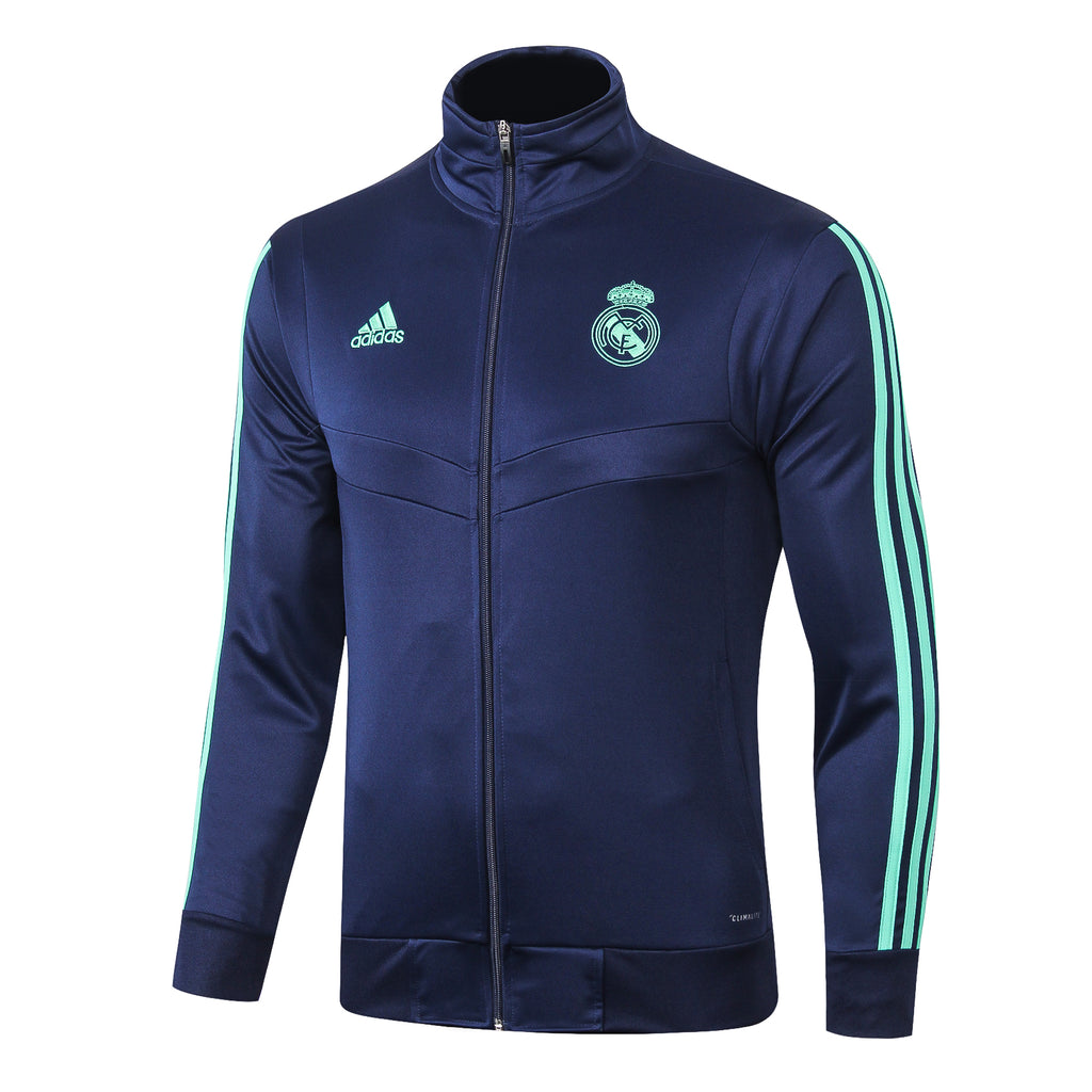 Real Madrid Dark Blue With Green Stripe Jacket 19 20 Season[🔥CLEARANCE SALE🔥]
