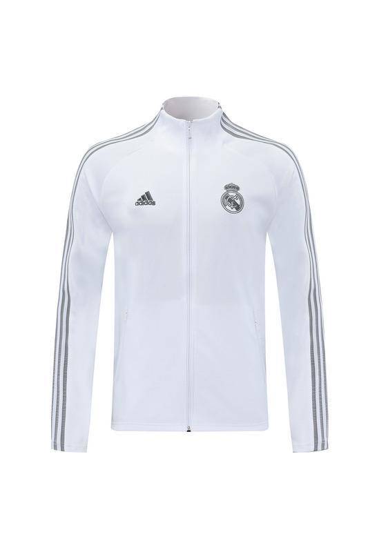 Real Madrid White With Grey Hand Stripes Jacket 20 21 Season