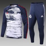 Real Madrid Navy Blue & White Hand Printed Training Suit 20 21 Season