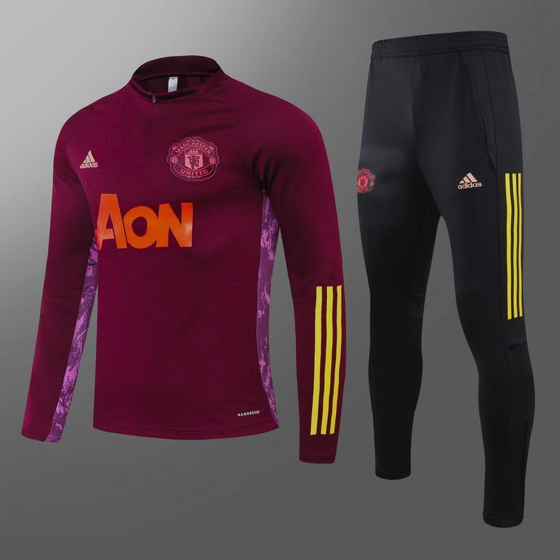 Manchester United AON Maroon With Yellow Hand Stripe Track Suit 20 21 Season