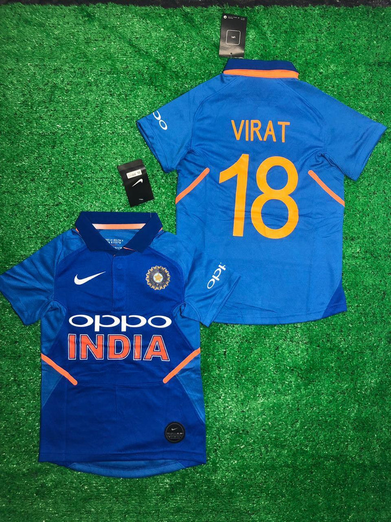 India Cricket World Cup VIRAT 18 KIDS Jersey 2019 [Premium Quality] Jersey_NS sportifynow