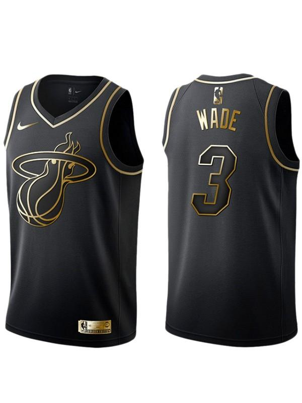 Miami Heat Dwyane Wade Black&Gold NBA Jersey