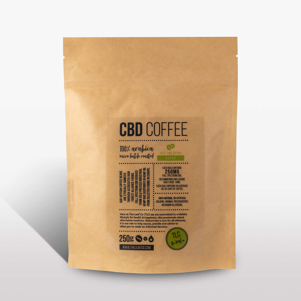 <strong>CBD Decaf</strong><br>100% Arabica CBD Decaf Coffee, available as beans or ground
